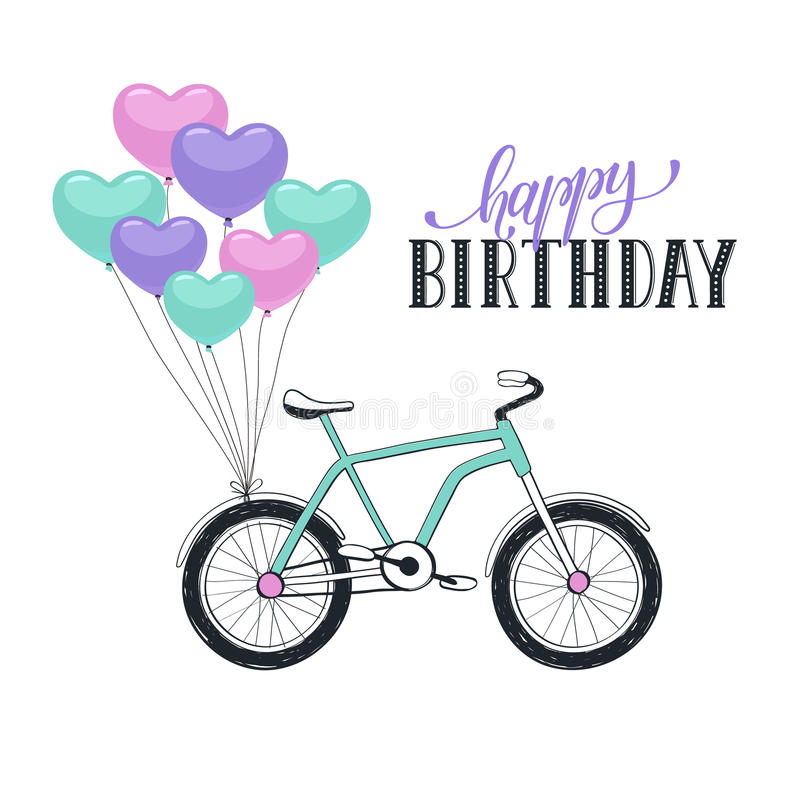 Cartoon Bike With Balloons Biking Clipart Birthday Png Freeuse