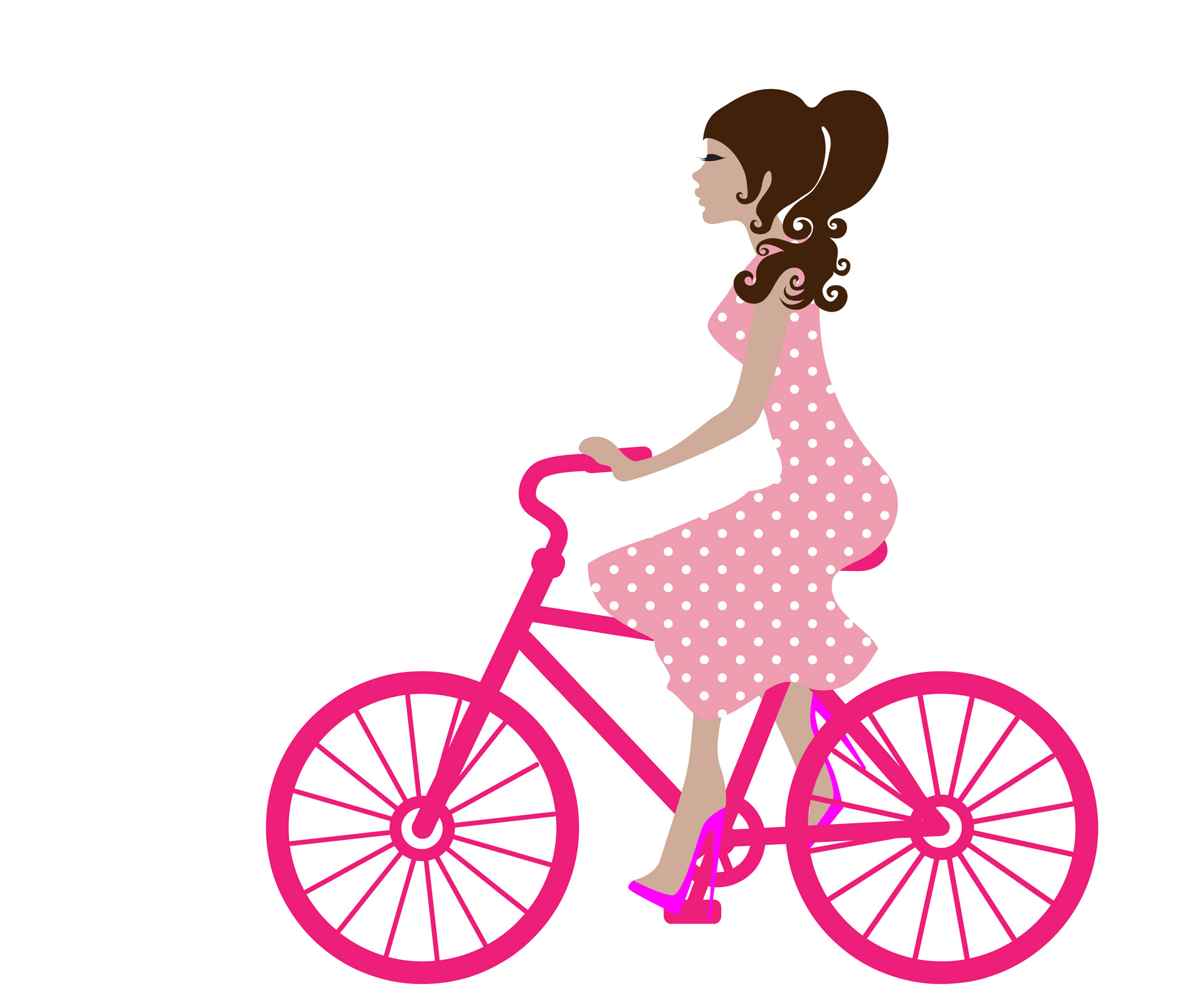 Cycling clipart girl paris. On bike free stock