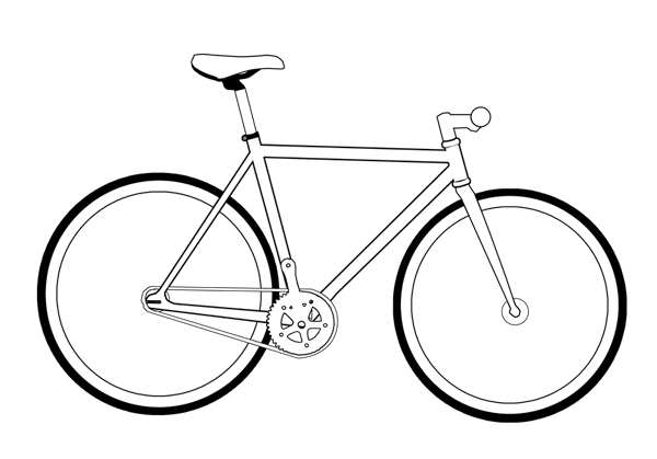 Biking drawing fixed gear. Collection of fixie