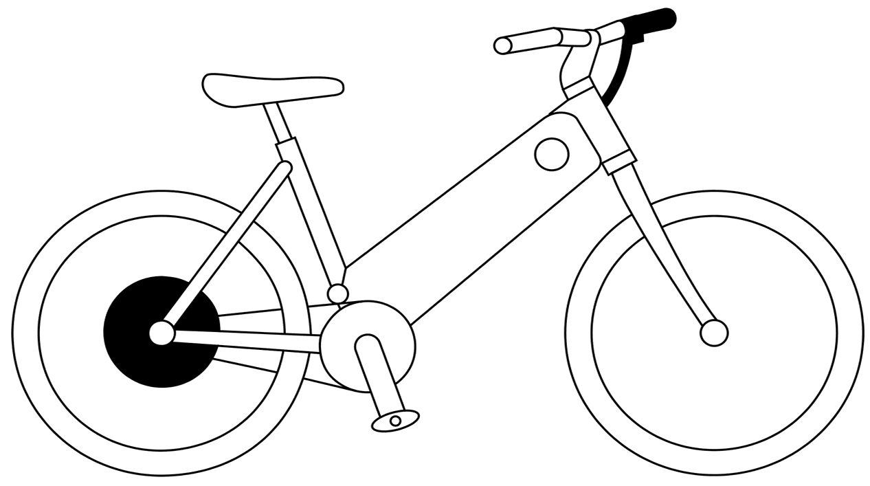 Biking drawing gear cycle. Importing electric bicycles cargocentric