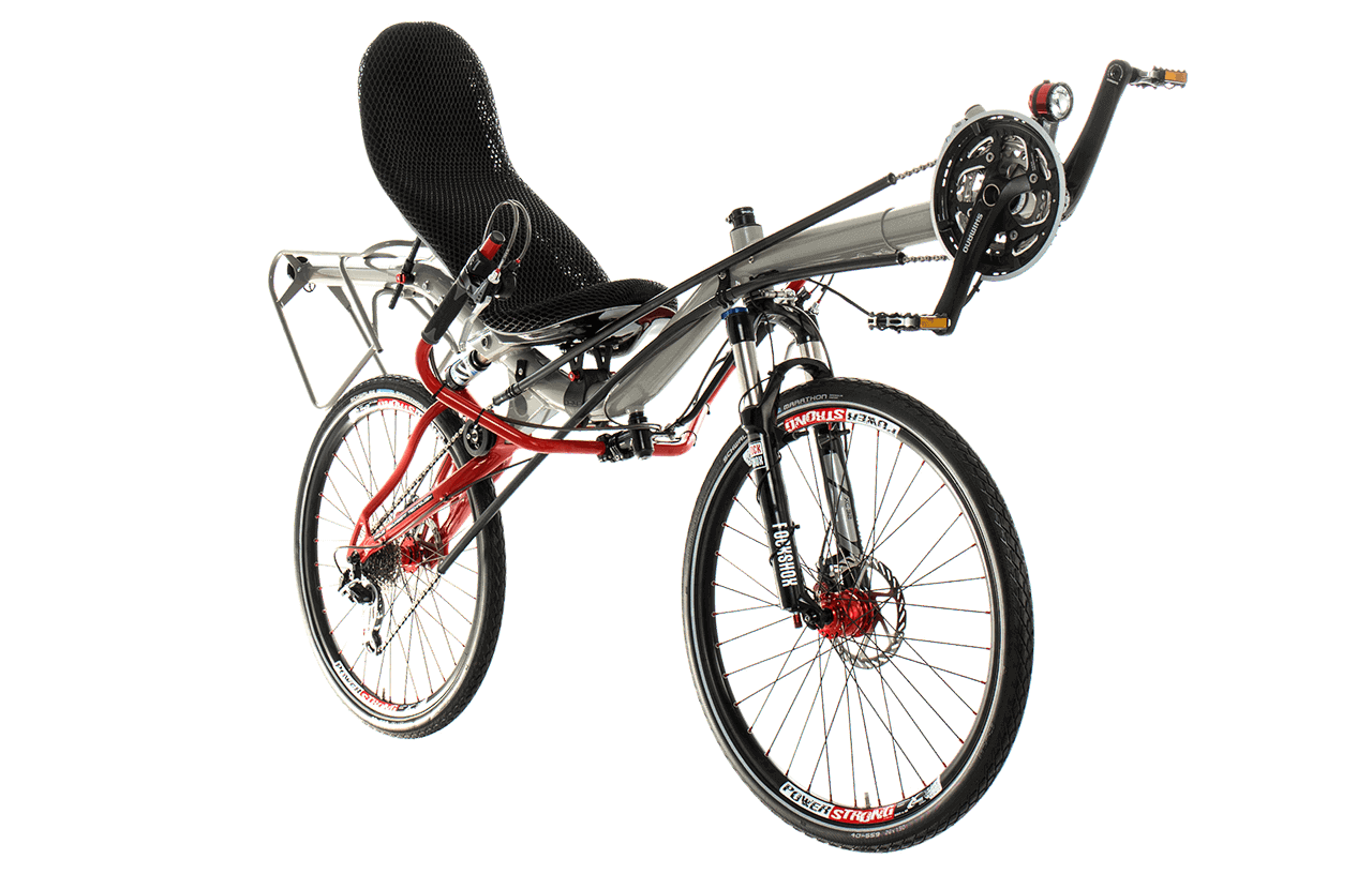 Custom built recumbent bikes. Biking drawing gear cycle picture library stock
