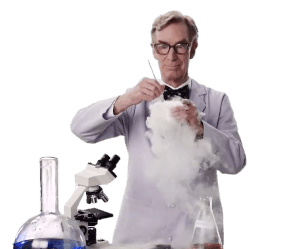 Bill nye the science guy png. Doing an experiment transparent