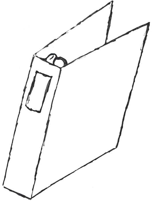Drawing clips binder. White clipart