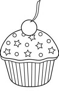 Bing clipart cupcake. Black and white outline
