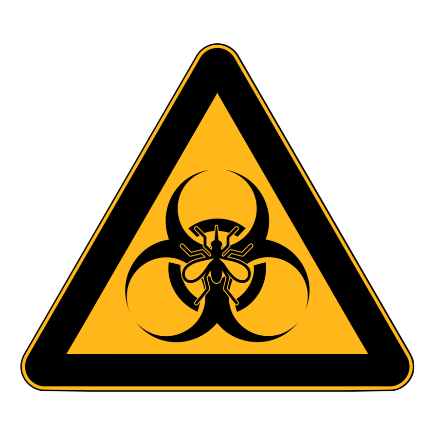 Biohazard transparent caution. Mosquito safety triangle sign