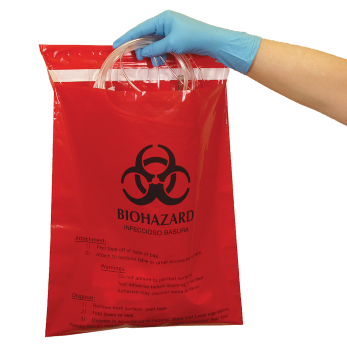 Stick on bags. Biohazard transparent red image freeuse stock