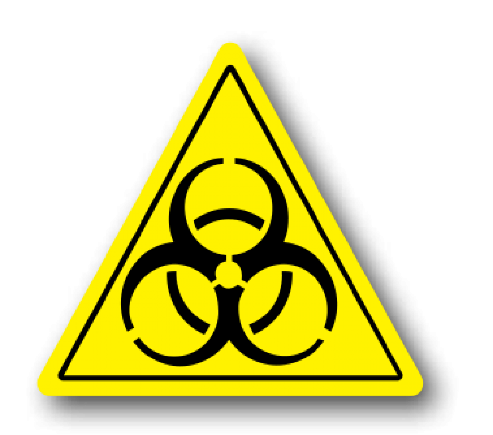 Biohazard transparent triangle. Floor signage safe walk