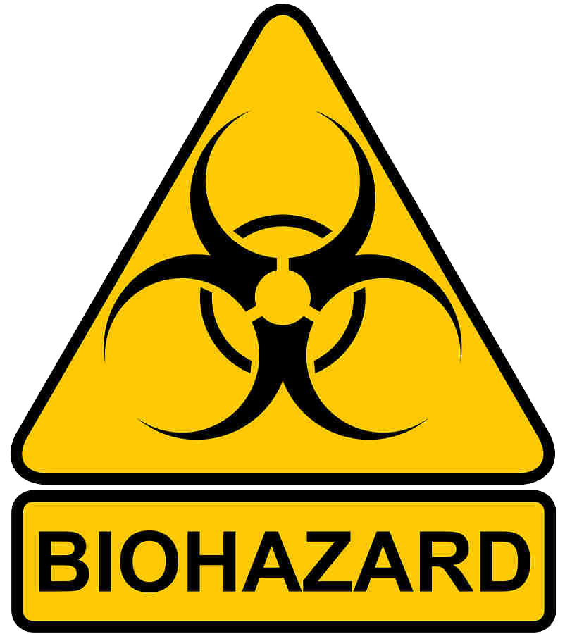 Biohazard transparent triangle. Emergency preparedness about
