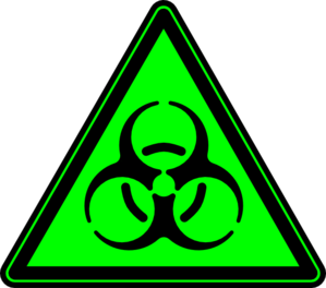 Biohazard transparent triangle. Green clip art at