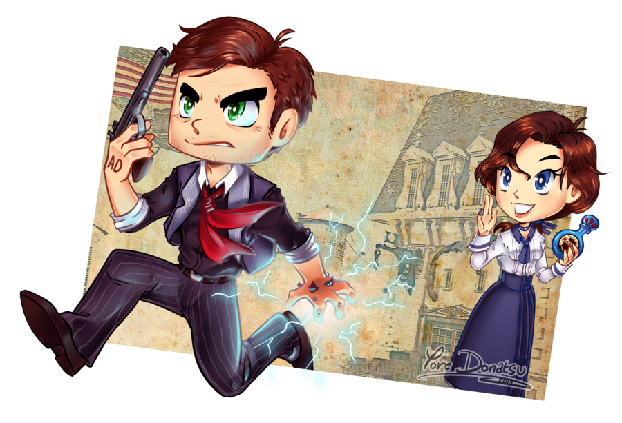 Bioshock drawing anime. Infinite catch booker by