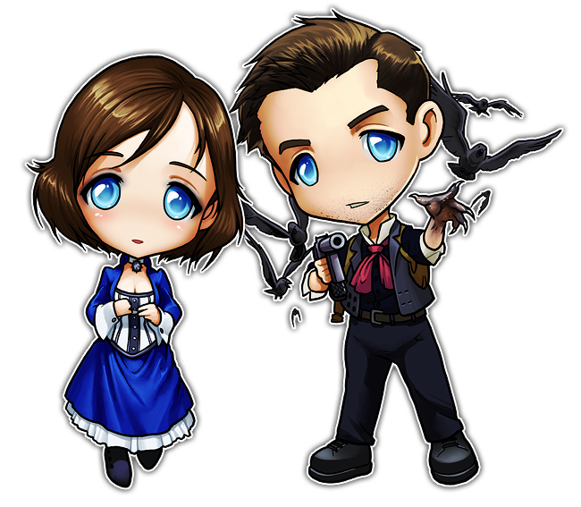 Bioshock drawing anime. Infinite chibis booker and