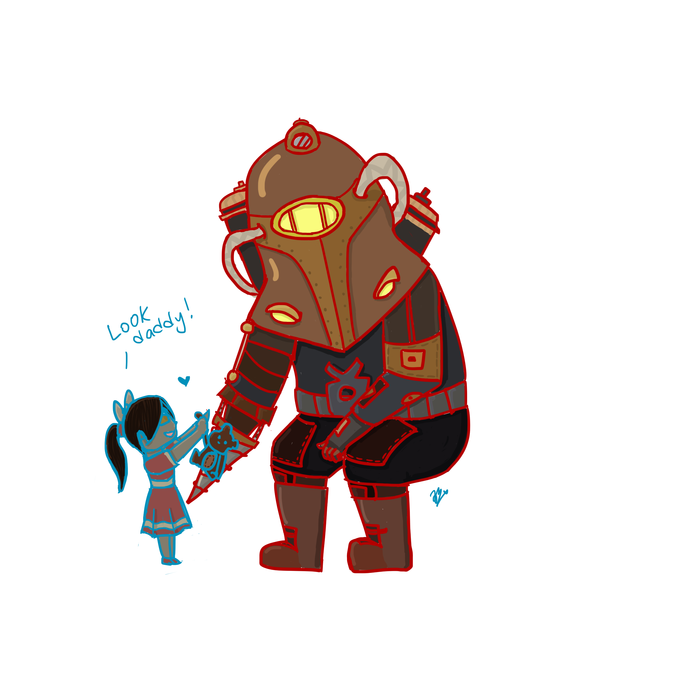 Look daddy fanart by. Bioshock drawing easy transparent download