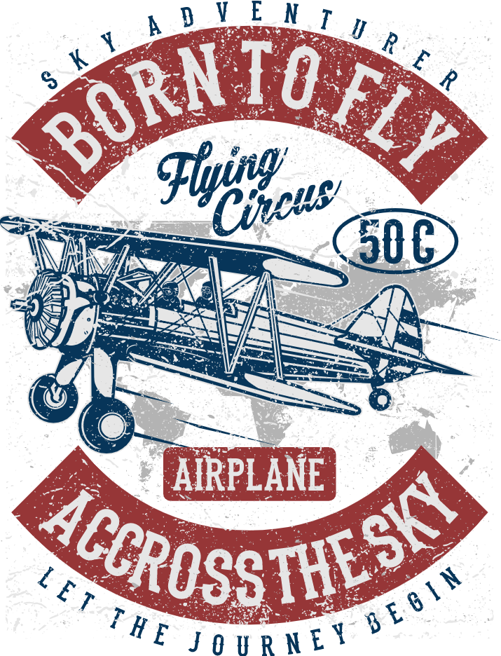 Biplane clipart template. Design on sky