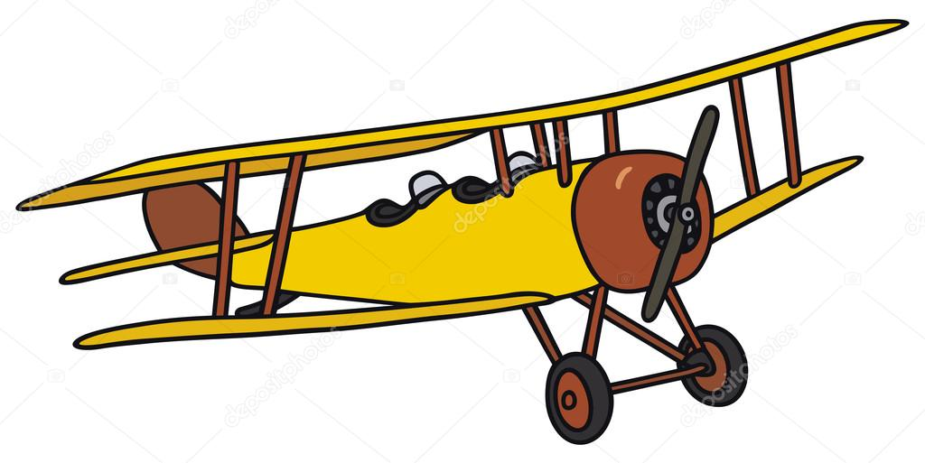 Biplane clipart yellow airplane. Stock vector v