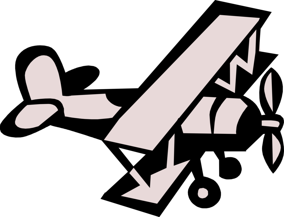 Biplane vector. Fixed wing airplane image