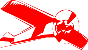Biplane vector. Red clip art at