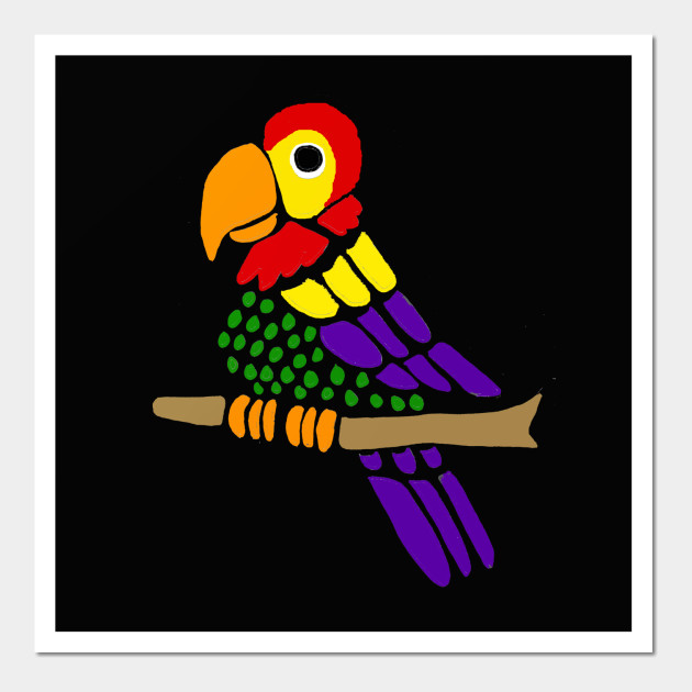 Funny parrot abstract wall. Bird clip art artsy image freeuse download