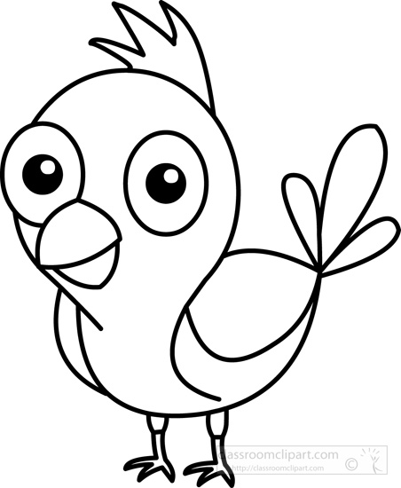 Bird clip art black and white. Animals clipart cute blue