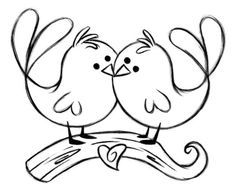 Small pyrography decorated love. Bird clip art easy clipart black and white library