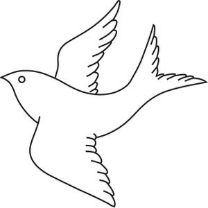 Bird clip art line drawing. Clipart image in flight