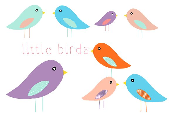 Bird clip art little bird. Birds illustrations creative market