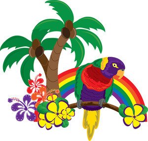 Free tropical image clip. Hawaiian clipart banner black and white stock
