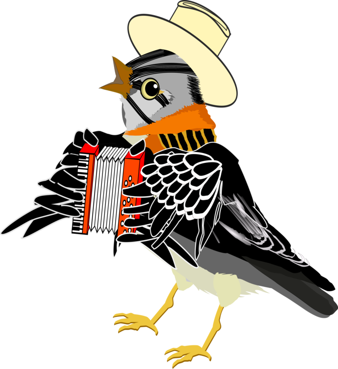 Bird clipart music. Accordion watercolor painting free