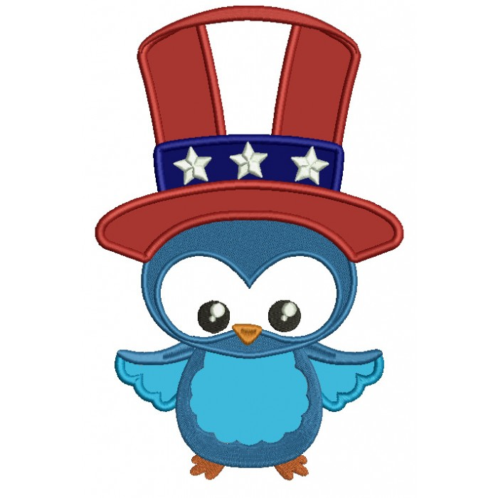 Bird clipart patriotic. Owl wearing usa uncle