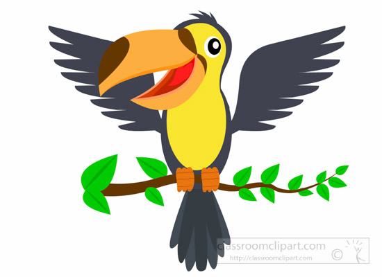 Wing clipart bird wing. Animal toucan wings open