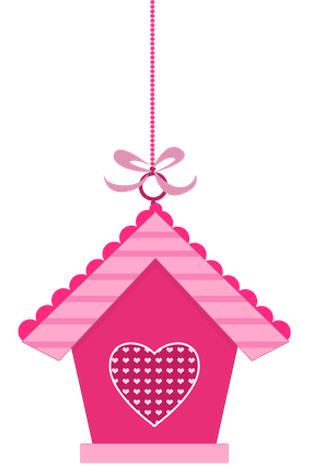 birdhouse clipart pink