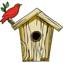 Birdhouse clipart. Free with red cardinal