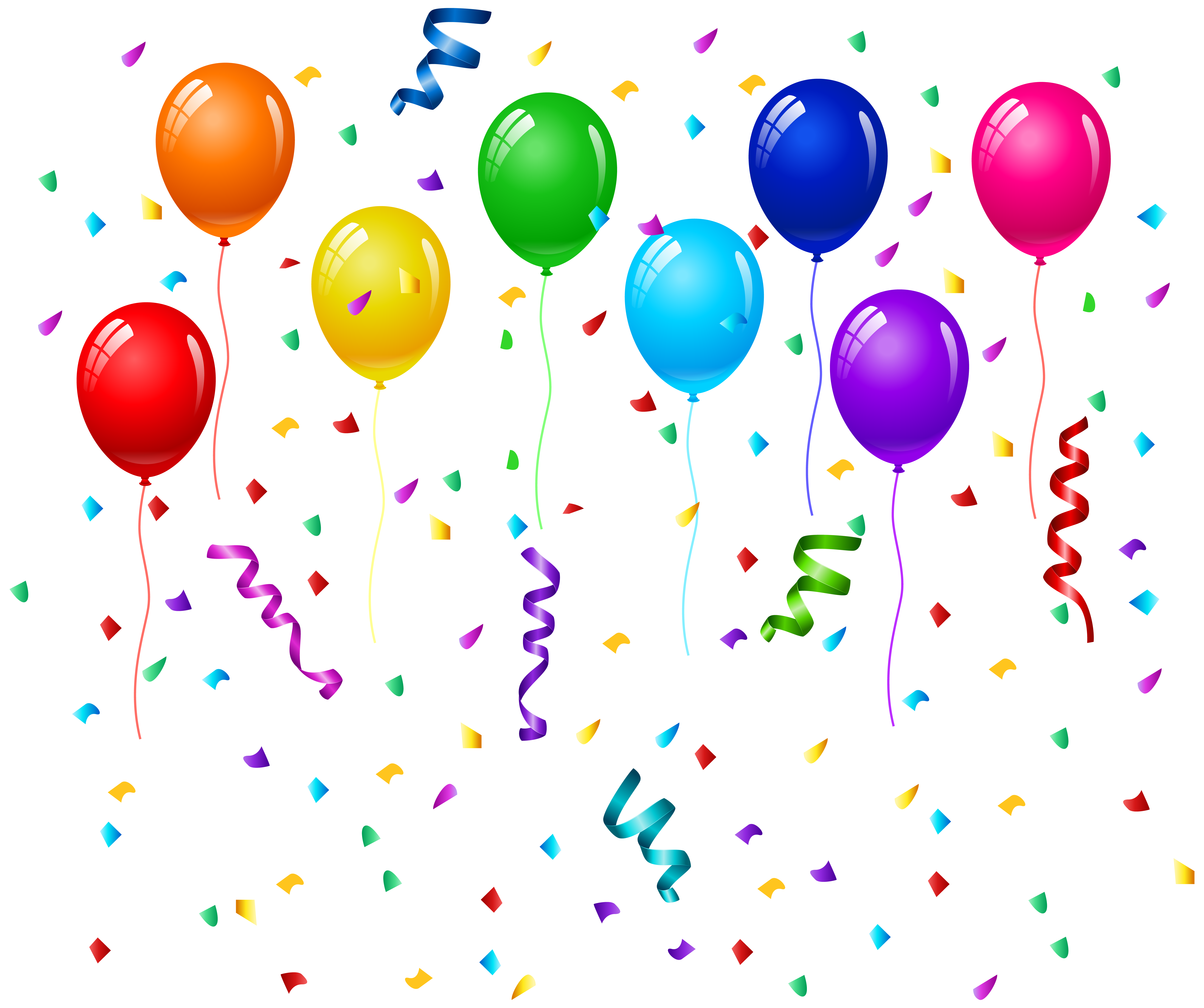 Birthday balloons png. Confetti and clip art