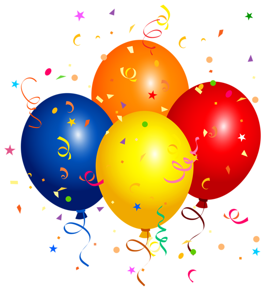 Confetti and balloons png. Four clipart birthday baloon clip library stock