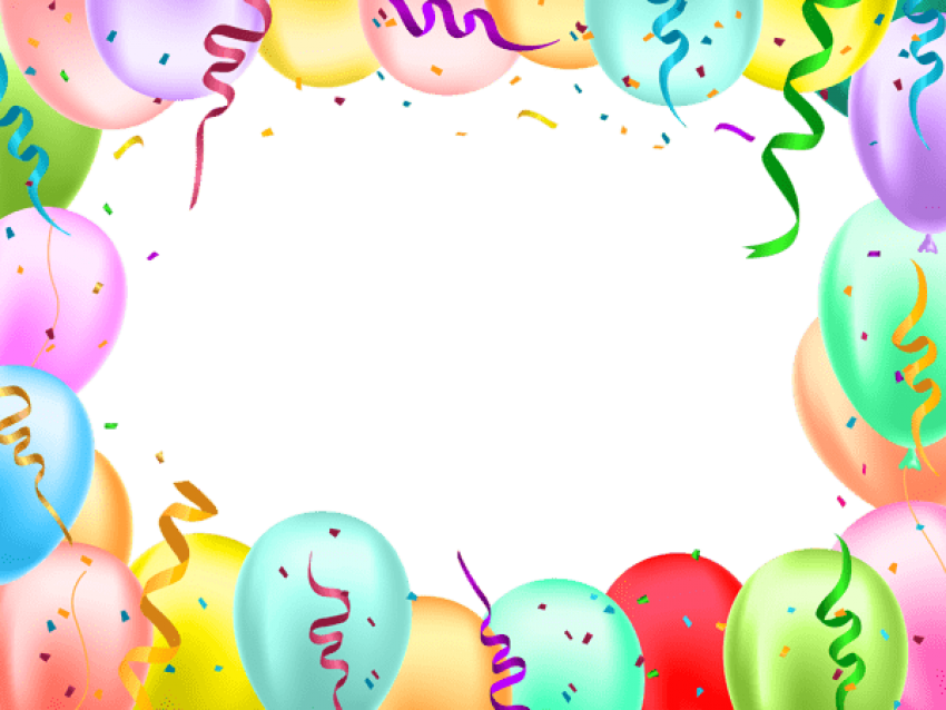 Birthday balloons border png. Download with transparent images