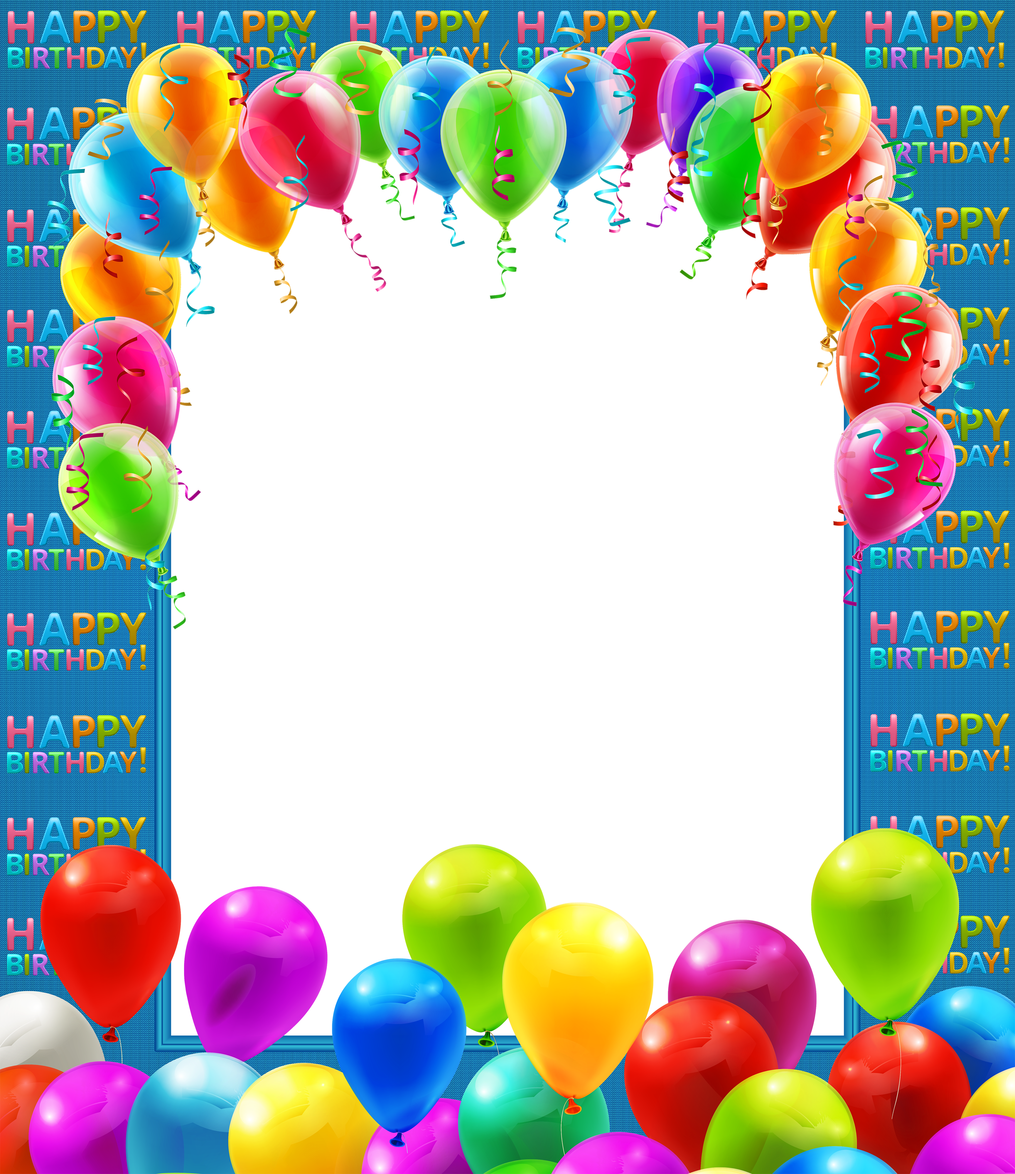 Birthday balloons border png. Happy transparent frame with