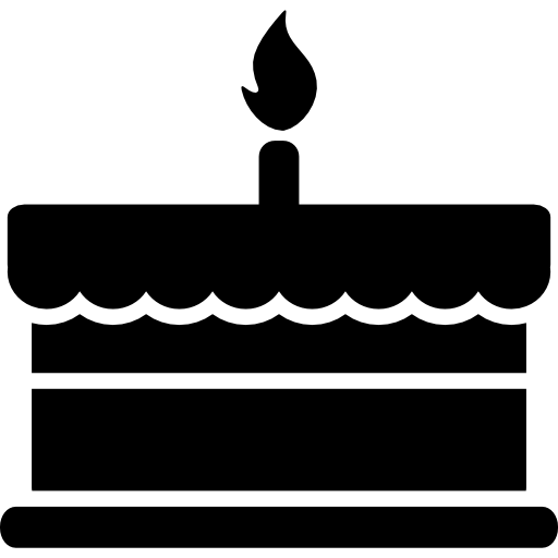 Birthday cake silhouette png. With one burning candle