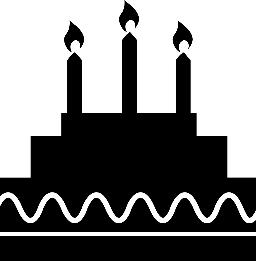 Birthday cake silhouette png. With candles svg icon