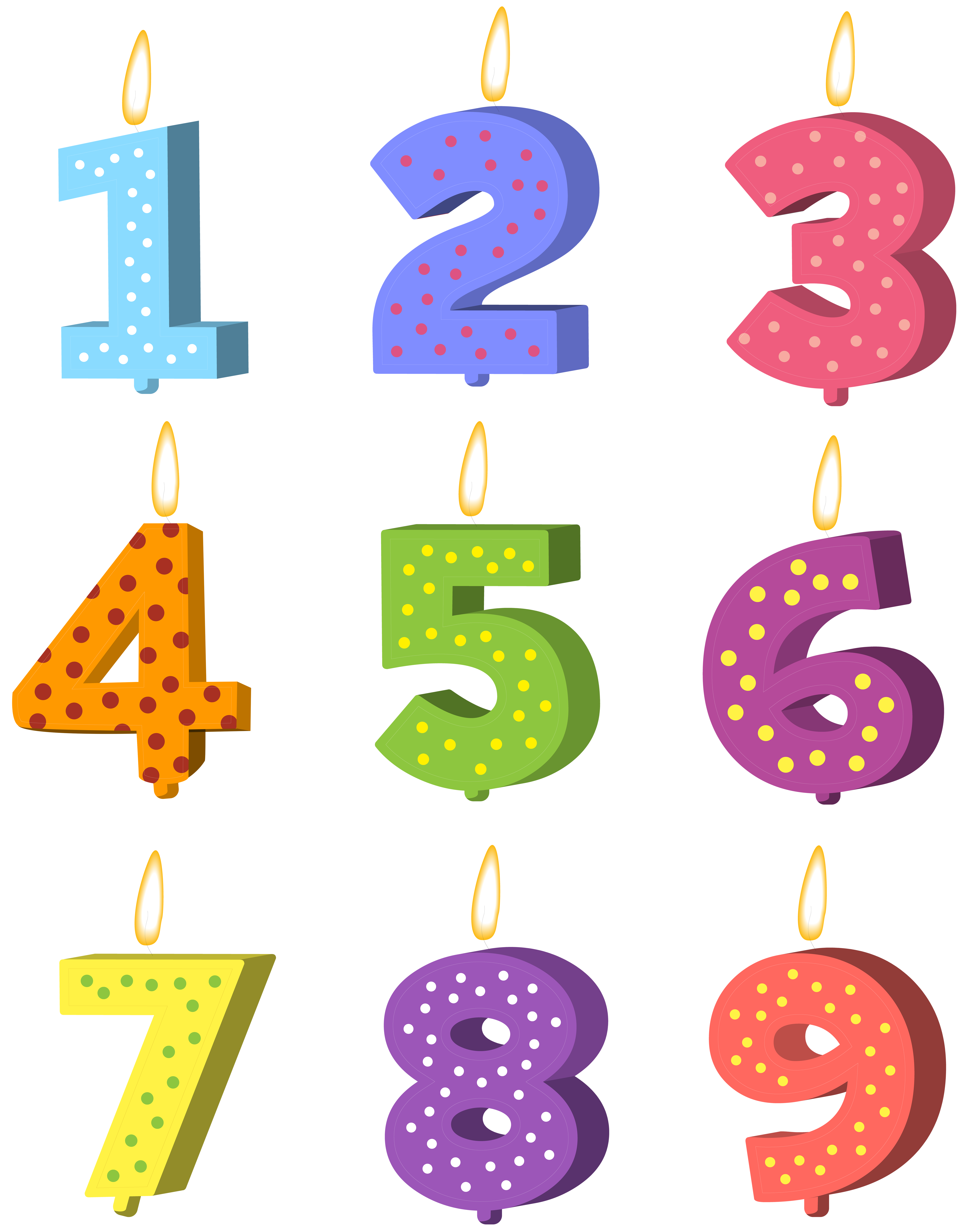 Birthday candles png images. Set clip art image