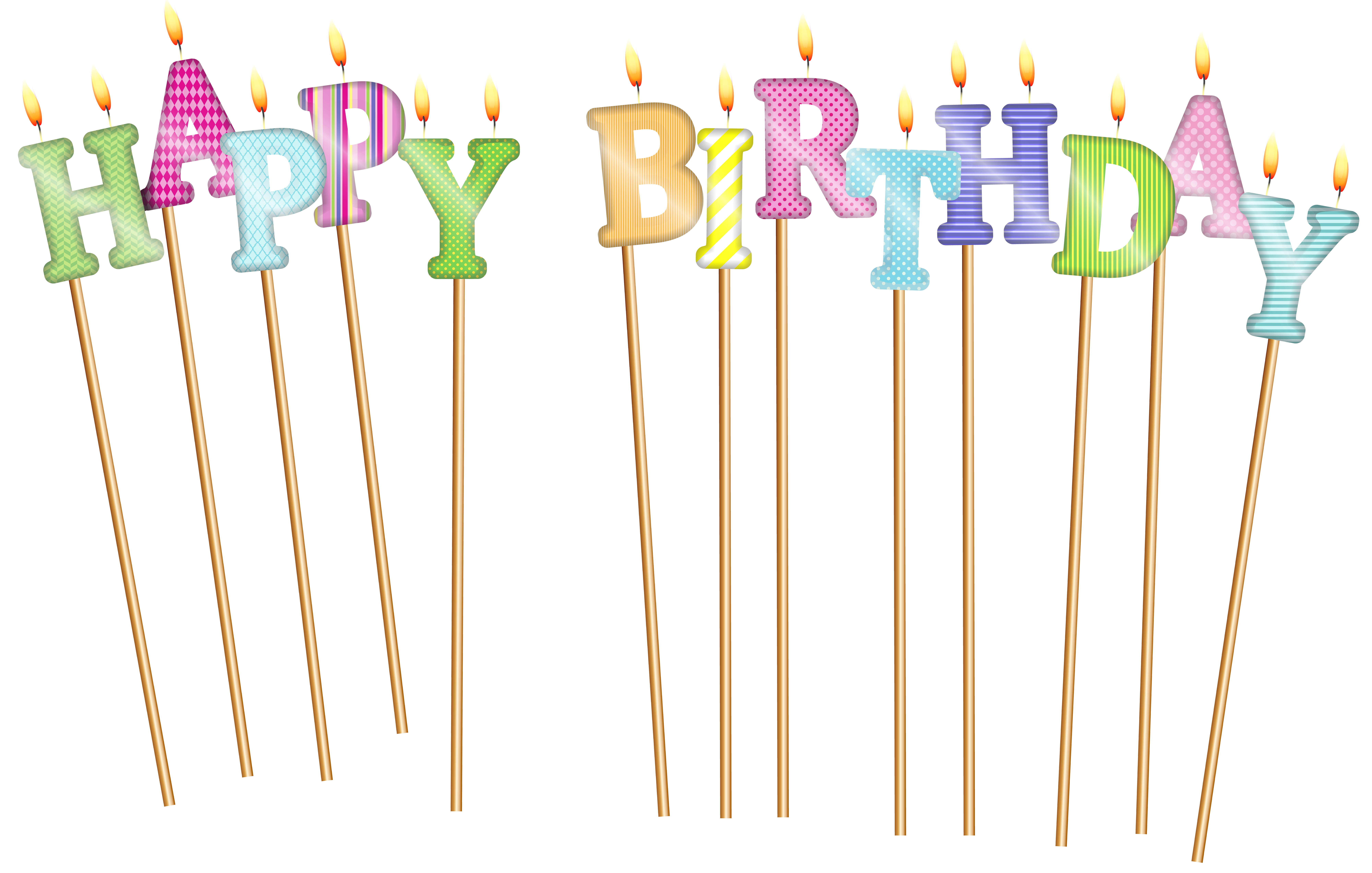 Transparent candles happy birthday. Deco png clip art