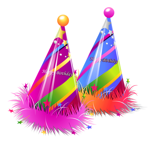 Happy party hats transparent. Birthday clip art png png black and white download