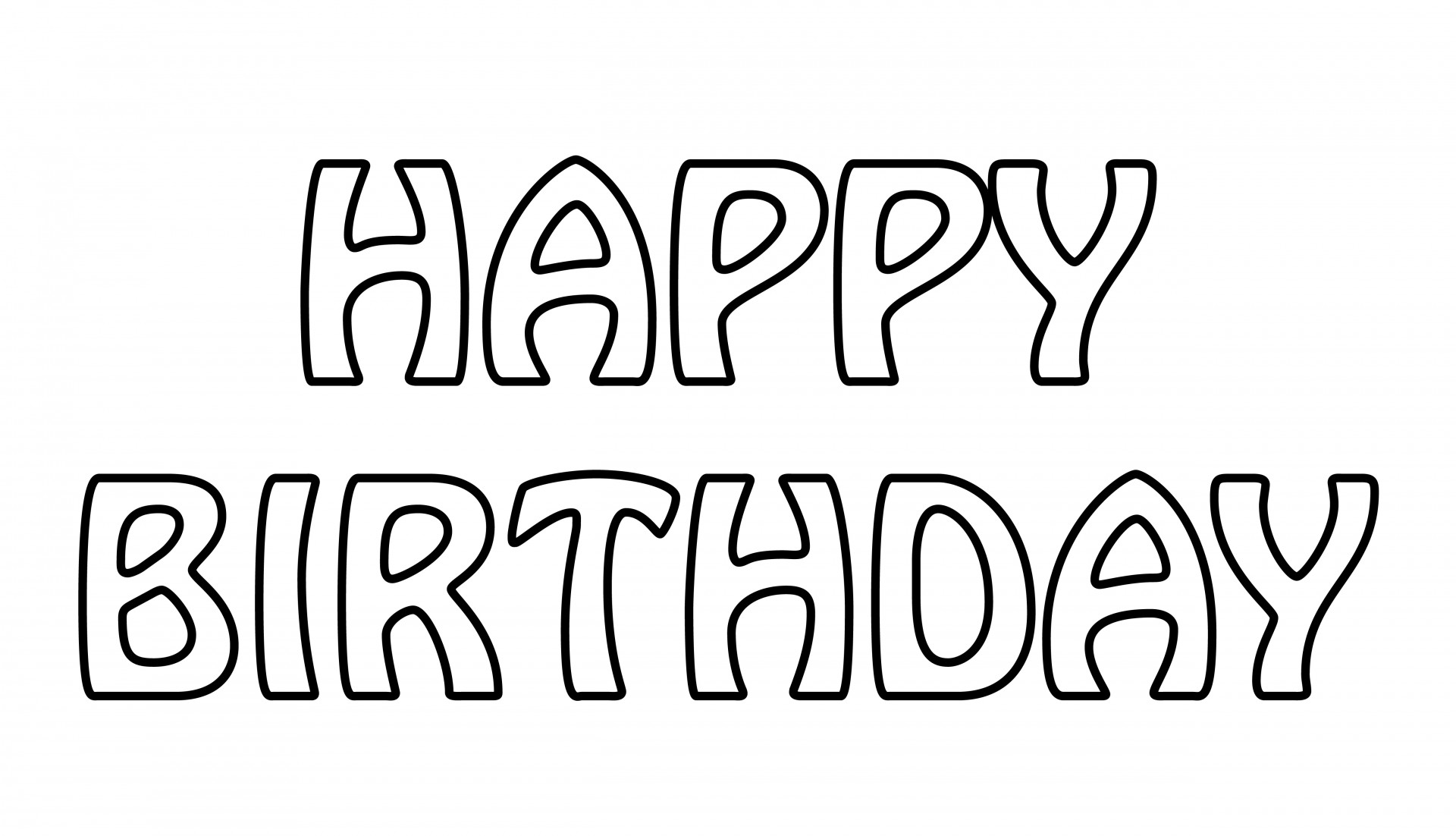 Birthday clipart outline. Happy text free stock