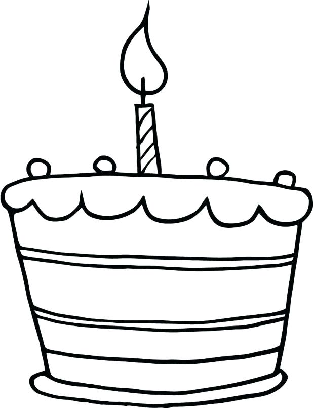 Birthday clipart outline. Cake coloring pages free