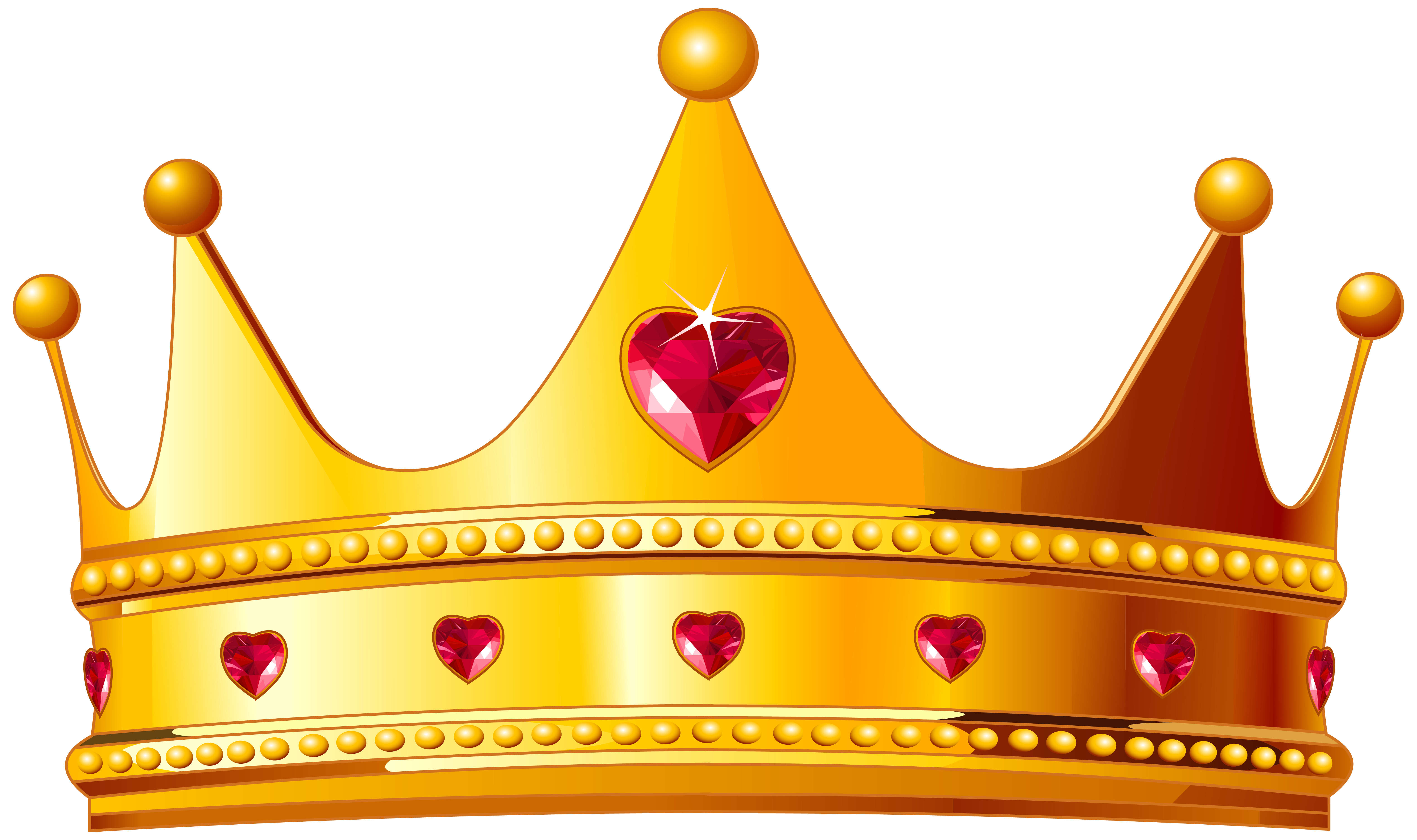 Golden with hearts png. Crown clipart picture black and white library