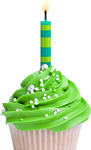 Green birthday png. Cupcake with candle clipart