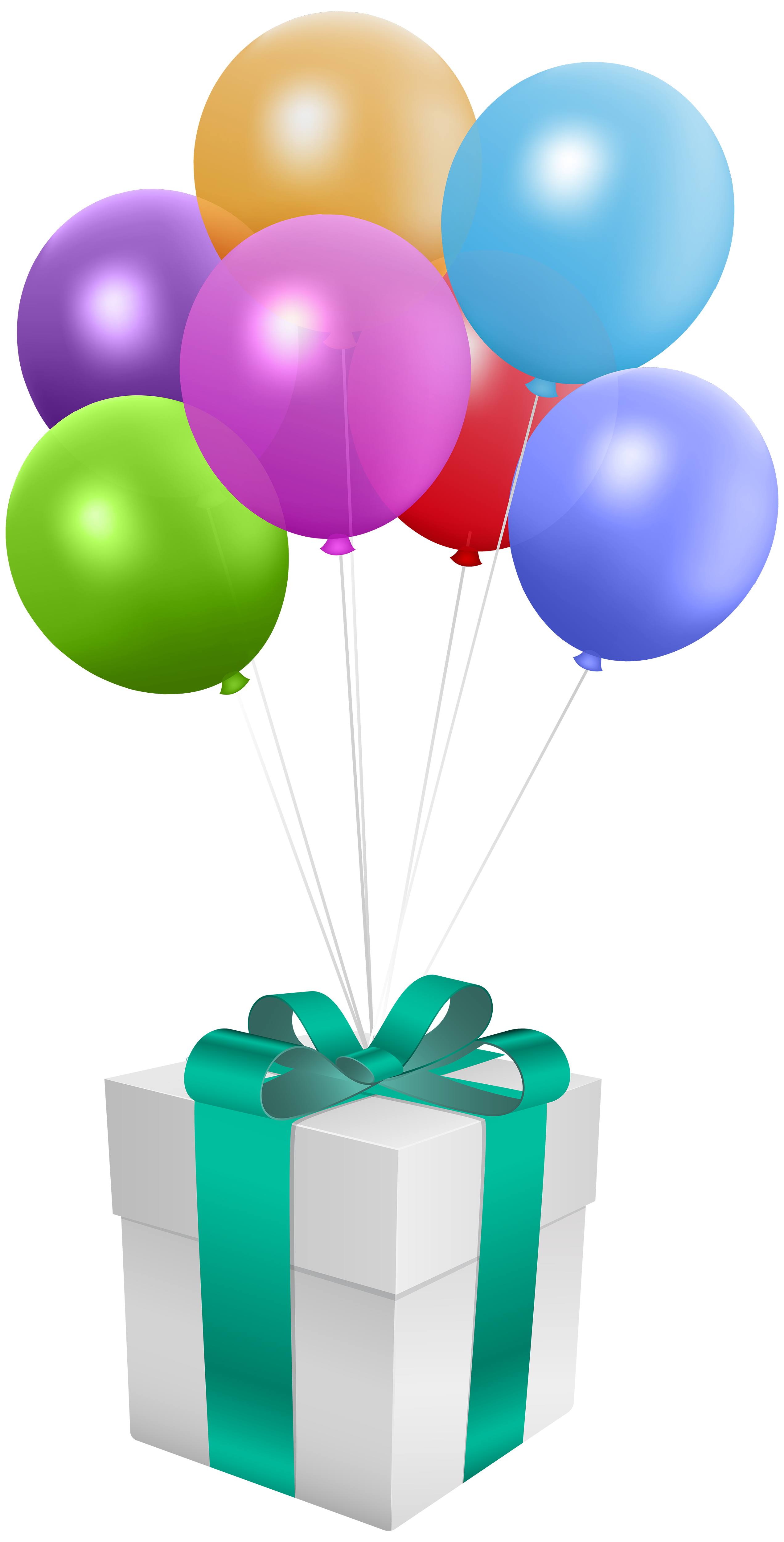 Birthday gift png. With balloons transparent clip