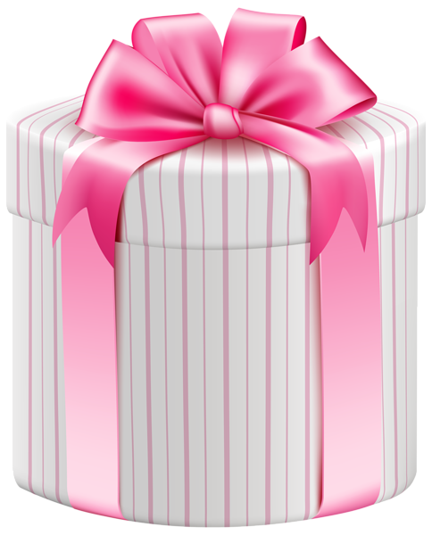 Birthday gift png. White striped box clipart