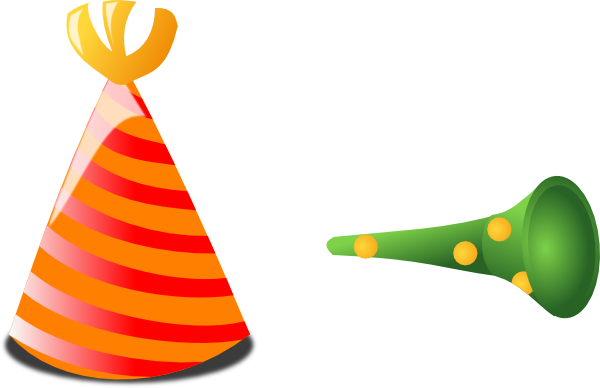 Party horn png. Birthday hat and clip