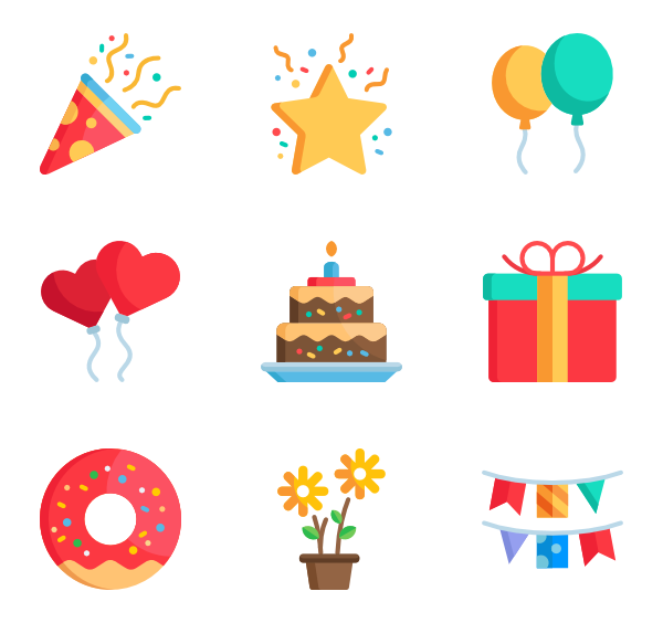 Birthday icons png. Icon packs vector