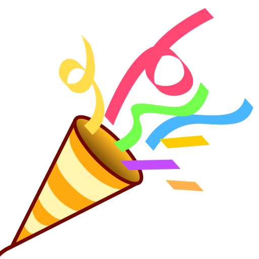 Celebration emoji png. Party horn popper paper
