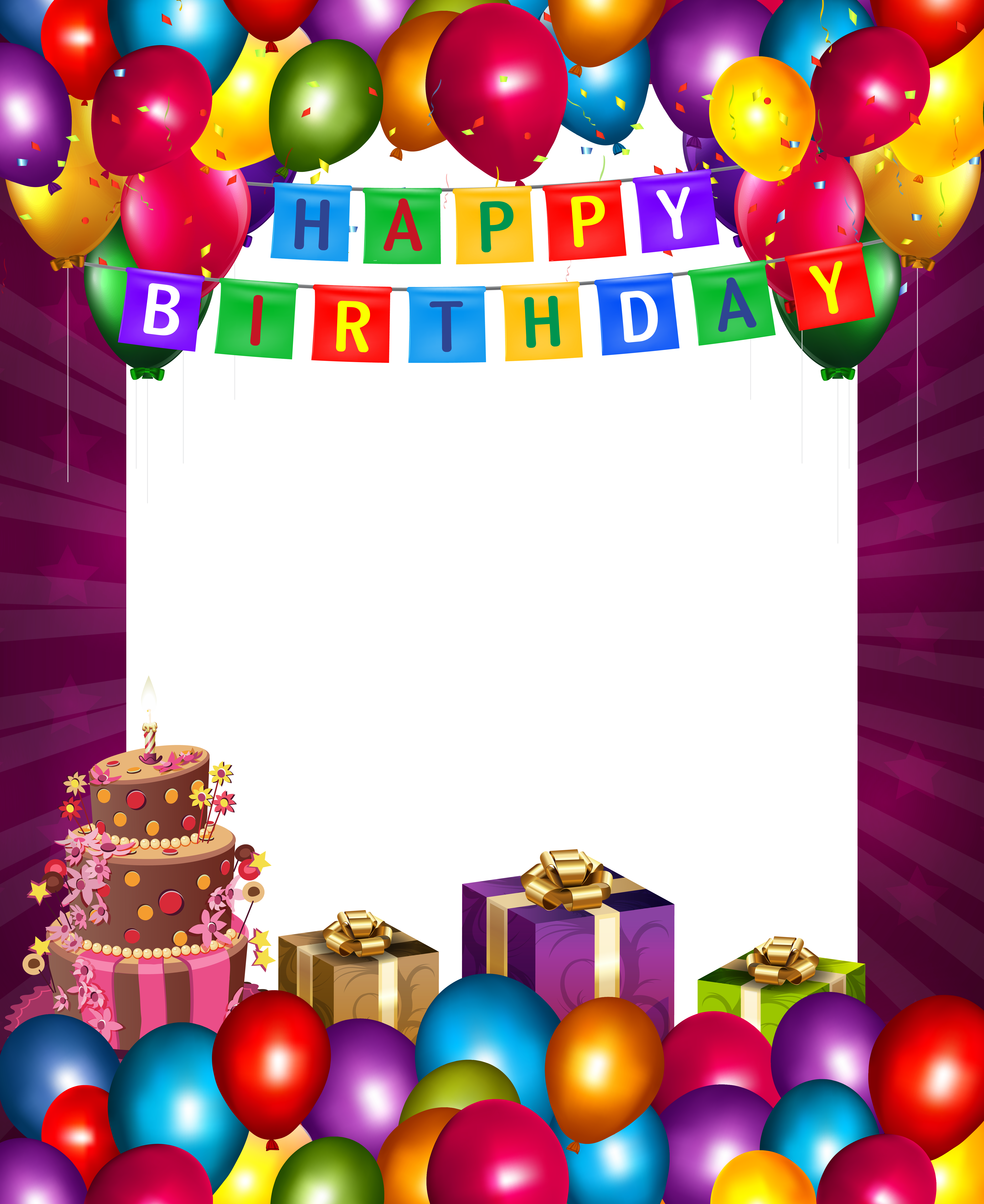 Birthday photo frame png. Happy with balloons transparent